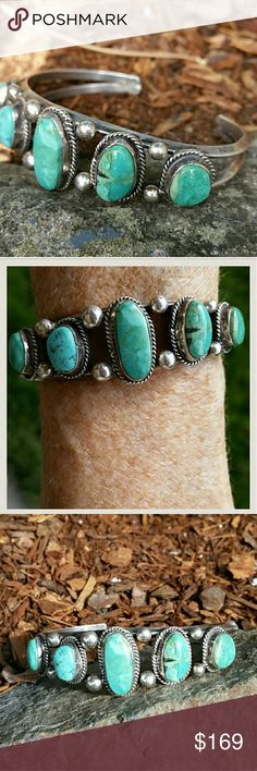 Vintage Serling Slver Turquoise 5 Stone Cuff I would describe this color of turquoise as matching the beautiful Waters down in the Caribbean. There are five genuine turquoise stones set in sterling silver. I was told it was Navajo but please I am no expert and I do not want to offend the maker of my favorite bracelet by getting that wrong. Jewelry Bracelets