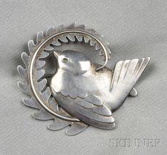 Georg Jensen, Sterling Silver Bird Brooch,  designed as a songbird perched on a branch, no. 309, lg. 2 in., signed Georg Jensen, Denmark.