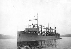 This photo shows the U.S.S. Cyclops (AC-4), a massive collier ship that was lost at sea in 1918. After leaving Barbados for Baltimore, Md., on March 4, the vessel vanished without a trace, taking 306 crew members and passengers with it. It remains the single largest loss of life in U.S. Naval history that was not the result of combat.