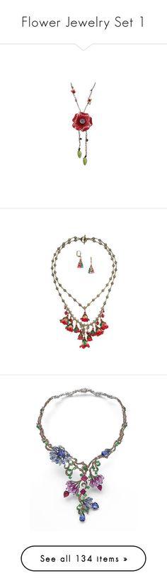 """Flower Jewelry Set 1"" by tegan-b-riley on Polyvore featuring jewelry, red, blossom jewelry, body jewellery, body chain jewellery, body chain jewelry, long jewelry, gold jewellery, beads jewellery and beaded jewelry"