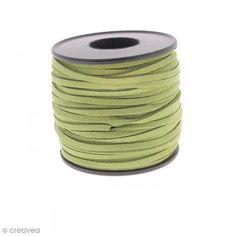 Cordón terciopelo - 3 mm - Verde oliva - Por 1 m (a medida) - Fotografía n°1