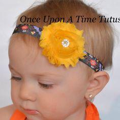 Halloween Spooky Creatures Headband - Photo Prop - Newborn Baby Hairbow Little Girls Hair Bow Accessory - Yellow Purple Orange Green Black by OnceUponATimeTuTus on Etsy