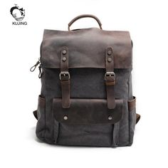 KUJING Leather Men And Women Backpack Luxury Retro Large Capacity Student Bag High School Canvas Travel Casual Youth Backpack #Affiliate