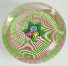 Antique Paperweights and Their Value | Pertshire glass paperweight, three blue, red and yellow flowers ...