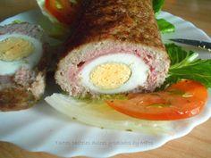 Tartas pasteles dulces y salados by MPop: Rollo de carne picada relleno de queso , jamón y huevos