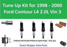 air oil fuel filter pcv spark plugs tune up for 1998 1999 2000 ford contour  vin3 #partsmaster
