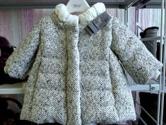 So chic grey and white tweedy baby coat from Monnalisa Bebe