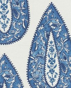 Bendi in Cobalt - white fabric with blue paisley - Textiles, Textile Patterns, Flower Patterns, Print Patterns, Fabric Paper, Fabric Painting, Fabric Wallpaper, Pattern Wallpaper, Hand Painted Fabric