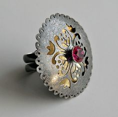"""Melitina Balabin - """"Once Upon a Time"""" ring (silver, patina, ruby, gold leaf)"""