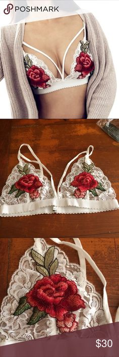 Gorgeous White Rose Embroidered Bralette Gorgeous White Rose Embroidered BraletteYou will fall in love with this gorgeous, seductive and trendy bralette. Brand New, wire free, soft and lacey; Material: Acrylic, Lace; fits true to size; Measurement