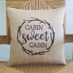 Cabin sweet Cabin pillow Burlap pillow stenciled pillow