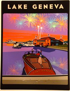 Aspinal Art. Venetian Festival Lighted Boat Parade and fire works show. Lake Geneva, Wisconsin