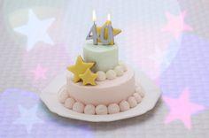 パステルカラーの♪2段バースデーケーキ☆