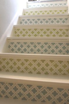 11 wooden stairs show inspiring ways to dress up your plain, lacking interest, ordinary staircase design and create a beautiful, colorful and impressive centerpiece for your interior decorating or home staging for sale Decor, Stair Decor, Home, Painted Floors, Home Improvement, Staircase Design, Wooden Stairs, Stenciled Stairs, Stairs