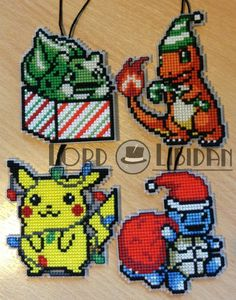 Christmas Pokemon Bauble Cross Stitches.  There're no patterns for things like this, but her stuff is amazing and the 8-bit stuff is easy enough to copy.