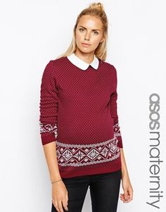 ASOS Maternity Jumper In Fairisle With Woven Collar