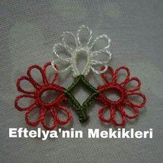 Mekik oyası Needle Tatting, Thread Art, Tatting Patterns, Elsa, Christmas Wreaths, Crochet Earrings, Projects To Try, Flowers, Crafts