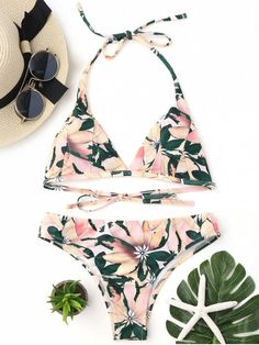 3fc1d15374 Floral Print Halter Padded Bikini Set