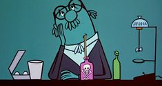 "Professor Joyce, Teacher of Voice, sipping his poison milk shake from ""How Now McBoing Boing,"" a 1954 Gerald McBoing Boing cartoon from the U.P.A. studio."