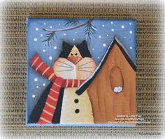 Winter Christmas Cat Ornament Fridge Magnet Mini Canvas