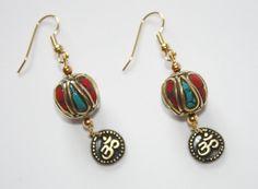 Earrings Om Charm Tibetan Bead Gold Red by JustforJoyCreations, $22.50