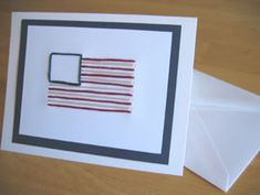 American Flag Hand-Stitched Card Pattern - Make and Takes