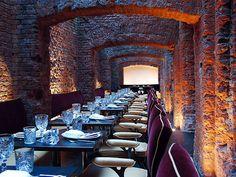 Exposed brick wall  | EAST Hotel Hamburg | EAST Restaurant Hamburg    Great use of lighting!
