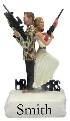 Camouflaged Hunting Mr. and Mrs. Smith Cake Toppers with your faces and hairstyles