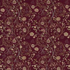 The Original Morris & Co - Mary Isabel embroideries in red colourway - Mary Isobel is a beautifully ornate design created by John Henry Dearle and originally sold as an embroidery kit by Morris & Co. circa 1890. Named after the lady who embroidered it Mary Isobel comes richly embroidered on linen and on 100% silk and is also available in a printed fabric in the Morris V Collection.