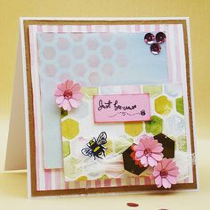 Mixed media Bee Garden card by Mags Woodcock