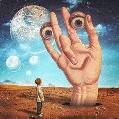 "Artist: Title: ""Hope And Innocence"" Medium: Digital Collage Date: 2018 Size: N/A Arte Pink Floyd, Ps Wallpaper, Arte Peculiar, Psychadelic Art, Funky Art, Hippie Art, Weird Art, Retro Futurism, Sci Fi Art"