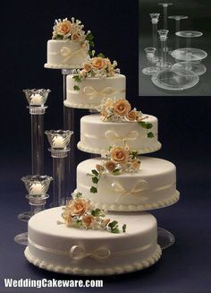 Floral Wedding Cakes wedding cake stand with tie dye orchids instead of roses (candels stand) - 5 Tier Wedding Cakes, Wedding Cake Stands, Wedding Cake Decorations, Elegant Wedding Cakes, Beautiful Wedding Cakes, Wedding Cake Designs, Beautiful Cakes, Amazing Cakes, Wedding Ideas