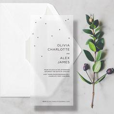 Minimal Vellum Wedding Invitations Transparent/Translucent Invites with Premium Envelopes. #weddings #invitation #clear #hugs #kisses #confetti #vellum #translucent #seethrough #transparent #weddinginvitations #weddinginvites