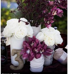 Purple and cream. Even looks great with burlap!!