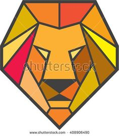 2017 trend Geometric Tattoo - Low polygon style illustration of a lion big cat head viewed from front set on i... Check more at https://tattooviral.com/tattoo-designs/geometric-designs/geometric-tattoo-low-polygon-style-illustration-of-a-lion-big-cat-head-viewed-from-front-set-on-i/