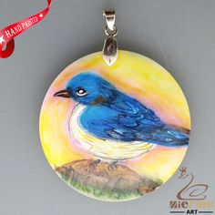 HAND PAINTED BLUE BIRD NATURAL WHITE STONE DIY PENDANT FOR NECKLACE ZH2000161 #ZL #PENDANT