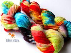 Hand Dyed Fingering Weight Wool Yarn. Greyfox Studios