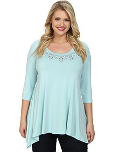 FROZEN ICE BLUE AQUA MIST PLUS SIZE EMBELLISHED HANKY TOP available from Zappos #Frozen #Ice #Blue #Aqua #Mist #Plus #Size #Embellished #Hanky #Top #Fashion #Zappos