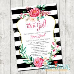 oh baby shower floral gold black white stripes card | baby showers, Baby shower invitations