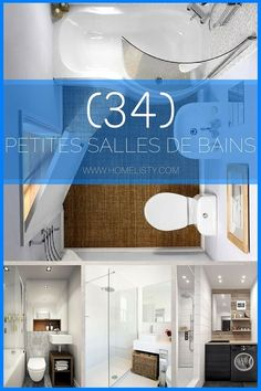 Petite Salle de Bain : 34 PHOTOS (idées Upstairs Bathrooms, Downstairs Bathroom, Bathroom Renos, Bathroom Layout, Small Bathroom, Small Apartment Interior, Small Tiny House, Tub Surround, Beautiful Bathrooms