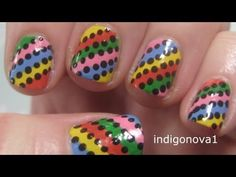 Easy Rainbow Stripes - Beginners Nail Art Tutorial on Short Nails notes from denise i use art deco type polish the thin brushes  they come in all colors usaly a dollar at family dollar  or dollar general and i sit the brush on my nail and turn my finger not the brush this helps keep the line staight, like a rolling motion