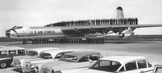 ❦ Convair B-36 Peacemaker win aircrews and late 1950s autos on the tarmac