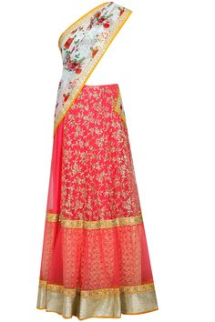 Coral and sky blue floral print embroidered lehenga saree with blouse piece available only at Pernia's Pop Up Shop..#perniaspopupshop #shopnow #newcollection l #festive #wedding #Vikramphadnisa#clothing