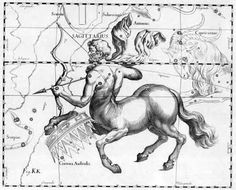 Constellation of Sagittarius - At the heart of Sagittarian lore stands the centaur Chiron; the figure of philosopher and teacher within Greek mythology. As a centaur, Chiron personifies the very soul of Sagittarius. Here is a symbol of half man, half horse, portraying the conflict between the philosophical mind and the carnal instinct of human nature.