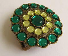 Vintage hippie boho brass Emerald green and pale lemon rhinestone encrusted belt buckle BB2