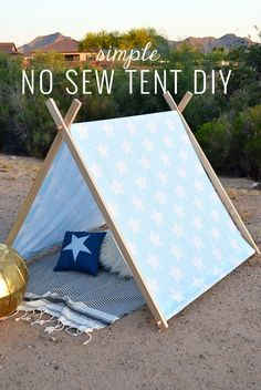 Simple No Sew DIY Kid\'s Tent | Momma Society | www.mommasociety.com