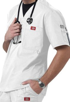 Introducing Dickies New Generation Flex. Set-in sleeves, back yoke, contrast multi-needle top stiching and side panels with side pockets complete the picture. Center Back Length Generation Flex Collection. Hot Doctor, Dickies Workwear, Corporate Identity Design, Medical Uniforms, Sports Uniforms, Medical Scrubs, Nursing Clothes, Work Shirts, White Man