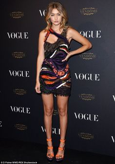 Stunning: Gigi Hadid looked incredible as she turned out for Vogue Paris' 95th anniversary...