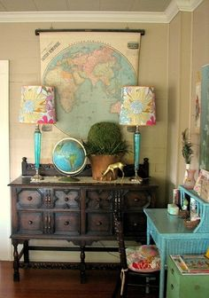 Mix and match furniture, patterns and colors......it all works.......charming!