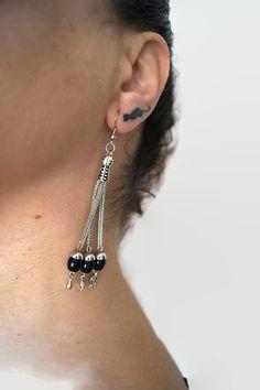 EARRINGS - Hematite Bead Dangle Earrings, Shiny Black Beads & Chain, Trendy Fashion Jewelry Earring Sweet Cute Hippy Hipster Bohemian Chic